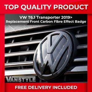 FOR VW T6.1 TRANSPORTER CARAVELLE FRONT BADGE CARBON FIBRE EFFECT REPLACEMENT
