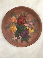 Vintage Wh Bossons Large Mums Floral Chalkware Wall Plaque Plate 1959