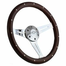 Steering Wheel Mahogany & Chrome for Hot Rod  Street Rod  Rat Rod Truck Chevy