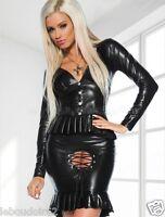 Tailleur de secrétaire sexy : jupe vinyl cuir ouverte chemisier décolleté robe