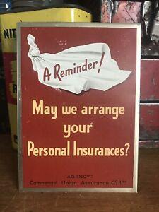Vintage Tin Advertising Sign  Insurances
