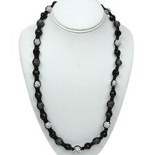 Shiny Black White Crystal Pave Ball on Black String Ajustable Necklace