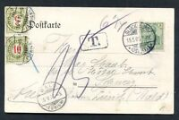 SWITZERLAND Glückenburg to Wald Taxed Postcard 1905 VF