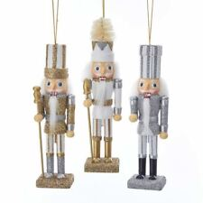 "Nutcracker Wood Ornament Set 3 Gold Silver 6 "" Christmas Kurt Adler"