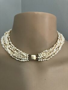 """14k FW Pearl 8 strand Necklace 15"""""""
