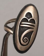 Clifton Mowa Vintage Hopi Rain Cloud Sterling Silver Ring Size 10.25