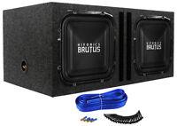 "(2) Hifonics BRZ12SQD4 12"" 2400w Square Car Subwoofers+Vented Sub Enclosure Box"