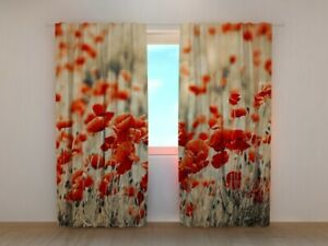 3D Curtain Printed Retro Field Poppies Red Flowers by Wellmira Made to Measure