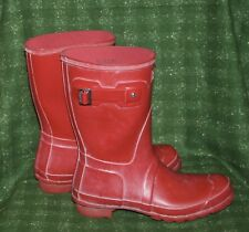 Hunter Original Short Gloss Military Red Boots Size 10