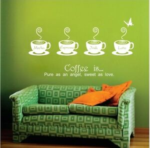 COFFEE TIME Removable Wall Decal Vinyl Stickers Art Decor Home LIVING Mural DIY