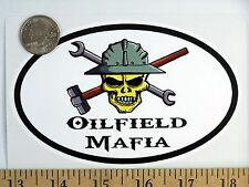 "Oilfield Mafia Skull 3 1/2"" x 5"" Oval Euro Bumper Sticker B152"