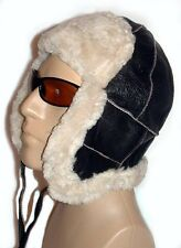 NEW! Sheepskin Winter Trapper Bomber - Aviator Hat Unisex Real Leather Shearling