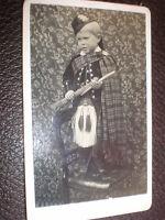 CDV old photograph boy in scots kilt and sporran c1890s
