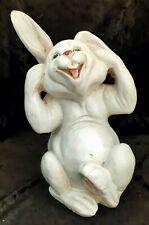 Vintage White Glazed Terracotta Pottery Rabbit Bunny Mid Century Made in Italy