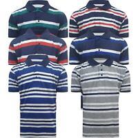 Mens Stripe Polo Shirts Short Sleeve Collared Summer Holiday T Shirt Tops Tee
