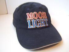 Moose Light Moosehead Beer Spell Out Hat Dark Blue Hook Loop Baseball Cap
