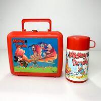 Walt Disney's Mickey & Donald Plastic Red Aladdin Lunch Box & Thermos