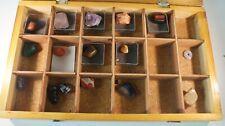 Holzkiste mit Mineralien 18 Fächer + Steine Quarze Amethyst Rosenquarz M-1718