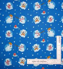 Christmas Polar Bear Snow Blue Cotton Fabric HG&Co Penguin Parade By The Yard