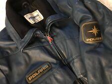 Polaris Vtg 80s Leather Snowmobile Jacket Suit Large L Blue Emblems Spellout C4