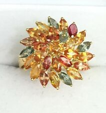 14k Solid Gold Yellow Gold Cluster Flower Ring Natural Color Sapphire, Sz 7.75