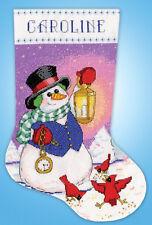 Cross Stitch Kit ~ Design Works Snowman with Lantern Stocking #DW5995