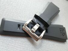 Rubber 24mm Strap Band & Sliver Buckle, For Bell & Ross Watch BR 01 03 BR01 BR03