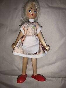 Vintage 1950s/60s Wooden Polish Peg Doll