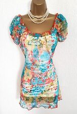 PER UNA M&S Turquoise Orange Mesh Lace Overlay Top 14 Summer Holiday Beach