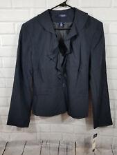NWT Chaps Ruffle Navy Dress Blazer Jacket coat top Silk Blend Size 16 MSRP $99