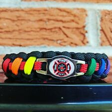 Thin Red Line Paracord Bracelet Support Firefighters Fire Dept FD FDNY