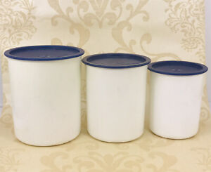 Vintage Tupperware Canister Set of 3 in Dark Blue 2416A-B-C, Made in USA