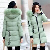 Women Winter Coat Medium Long Thick Down Cotton Jacket Hooded Fur Collar Parka R
