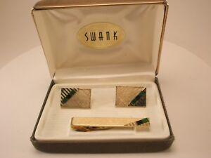 Black & Green Stone Gold Tone Vintage SWANK Cuff Links & Tie Bar set in box