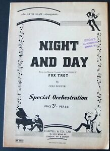 COLE PORTER ARTIE SHAW NIGHT AND DAY PIANO CONDUCTOR SHEET MUSIC (1939) ENGLAND