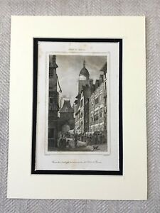 1830 Town Square Clock Tower Rouen France Antique French Engraving Print