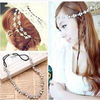 Women Elastic Metal Rhinestone Crystal Headband Head Chain Hair Accessory Gift