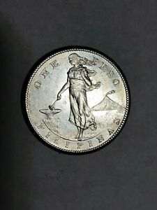 1908 S US Philippine Silver Peso, appears to be AU to UNC, look at pics.