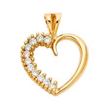 14K Real Yellow Gold CZ Heart Pendant  Yellow Gold CZ Heart Pendant