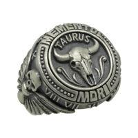 Taurus skull masonic sterling silver 925 biker mens ring Memento Mori Zodiac