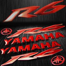 """5.75"""" 3D Logo+Letter Decal+6"""" Fairing Emblem Sticker for YZF-R6/R6S Chromed Red"""