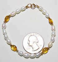 "Vintage White Ringed Freshwater Pearl Bracelet w/Amber Glass Beads 14K GF 7"""
