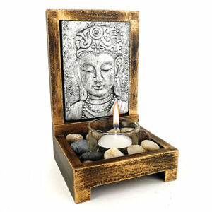 PORTACANDELE BUDDHA vintage in legno testa Budda giardino Zen porta candele 16cm