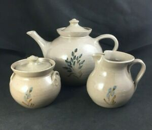 Pamela Owens JUGTOWN Pottery NC Folk Art TEA SET Teapot Sugar Creamer