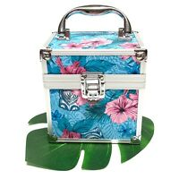 Tropical Hibiscus Palm Tiki Floral Hard Case Makeup Cosmetic Beauty Box - NEW