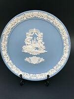 Wedgwood Jasperware Blue / White 1984 Collector Valentine Plate White on Blue