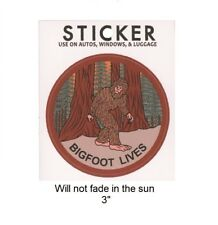 Bigfoot Lives Vinyl Sticker - Will not fade in the sun, 3""