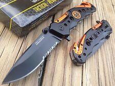 TAC FORCE  Spring Assisted Knife Blade EMT EMS Orange Rescue Folding Pocket New