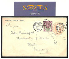 MS1423 1902 UNIVERSITY COLLEGE LONDON QV Penny Pink Uprated KEVII Cover Germany