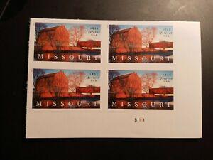 US 2021 Scott #5626 4ever Missouri Statehood NDC imperf Plate block of 4 VF MNH